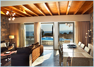 Blue Dreams Exclusive Villa Pefkos - Living & Dining Area