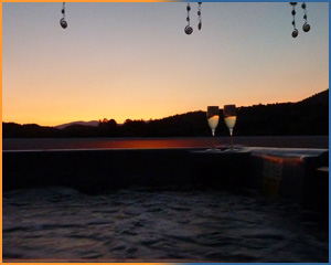 Olive Grove Villa - Sunset on the roof terrace from the jacuzzi/hot tub